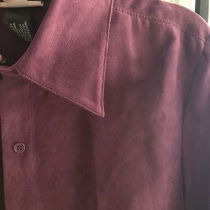 Purple suede buttons up blouse